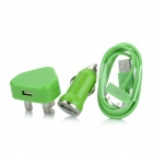 3-in-1 Car Charger + UK Plug Adapter + USB Charging / Data Cable for iPhone 3GS / 4G / 4S - Green