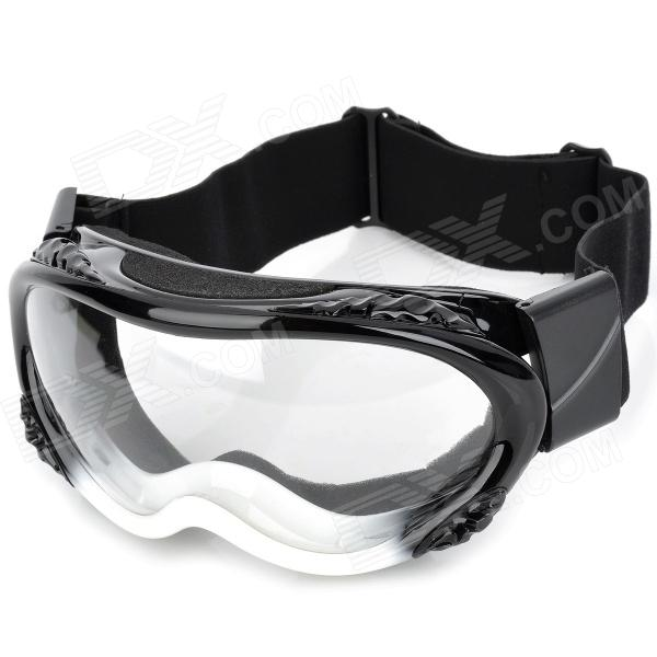 Carting T815-14 Outdoor Motorcycle Racing Cool Windproof Goggles - Black + White (Clear Lens)