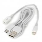 Micro USB Female to 8pin Lightning Male Charging Cable + Micro USB Charging Data Cable - White