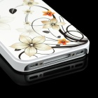 Colorfilm Protective Flower Embossed Plastic Back Case for Iphone 4 / 4S - White