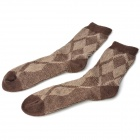 Gentry Carriage C5384 Rhombic Pattern Man's Rabbit Hair Socks - Coffee (Pair)