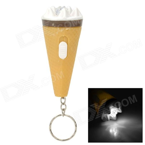 Cute Ice Cream Style 1-LED White Light Keychain - Light Yellow + White (3 x LR41) sport car style 2 led white light flashlight keychain w sound effect red 4 x lr41