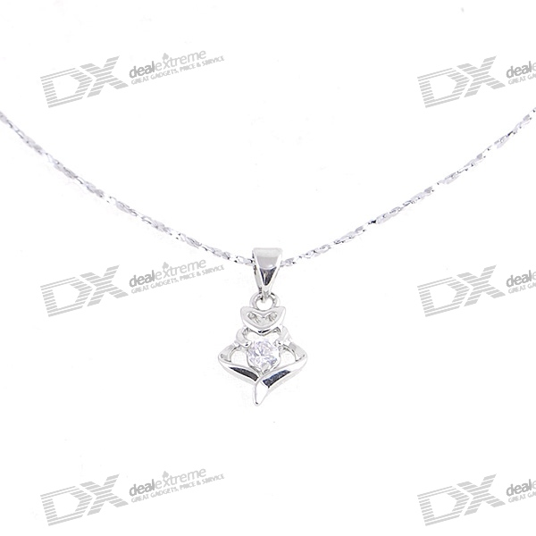 Silver Plated Alloy Crystal Hearts Necklace (22cm)