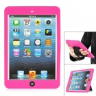 IPT-12 Protective Silicone Back Case w/ Sleeve360 Free Rotation Hand Strap for iPad Mini - Rose Red