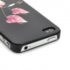 Colorfilm Flower Relief Style Protective Plastic Back Case for Iphone 4 / Iphone 4S - Black
