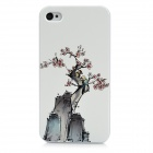 Colorfilm Protective Plum Blossom Embossed Plastic Back Case for Iphone 4 / 4S - White