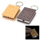 Cute Square Biscuit Style Plastic 1-LED White Light Keychain - Coffee + Yellow (3 x LR41 / 2 PCS)