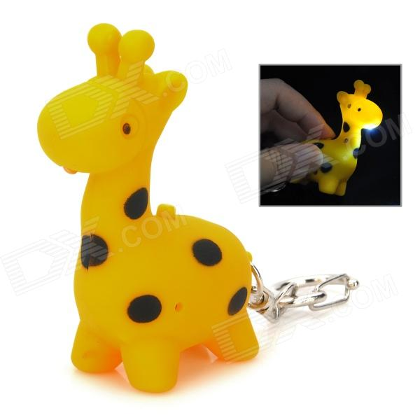 Cute Giraffe LED White Light Keychain w/ Sound Effect - Yellow + Black (3 x AG10) tiger style 2 led blue light keychain w sound effect yellow 3 x ag10
