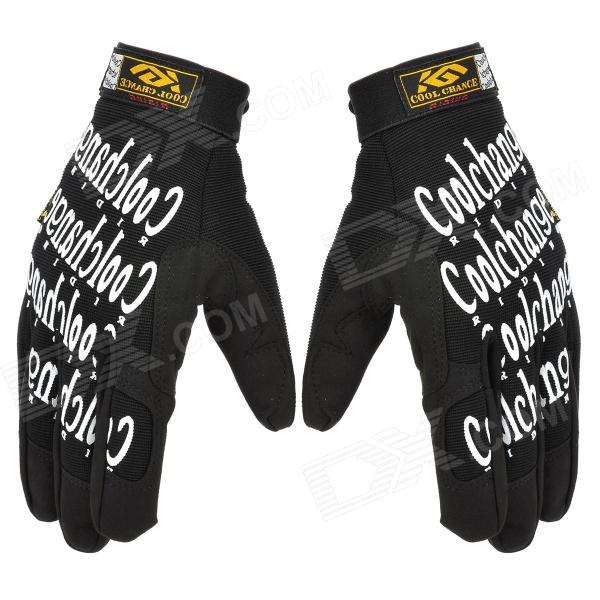 цена на Cool Change KG-1018 Cycling Full-Finger Polyester Gloves - Black + White (Pair / Size XL)