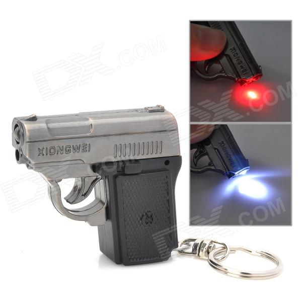 SB333 Cool Pistol Style LED White Light + Red Laser Keychain - Black + Grey (3 x CR2025) new 2017 winter down cotton padded jacket parka outerwear medium long plus size clothing wadded jacket loose thickening female