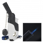MengHu Rechargeable Gun Shaped Butane Jet Torch Lighter w/ Strap - Black + White