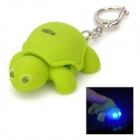 Cute Tortoise Plastic 2-LED Blue Light Keychain w/ Sound Effect - Green (3 x AG10)