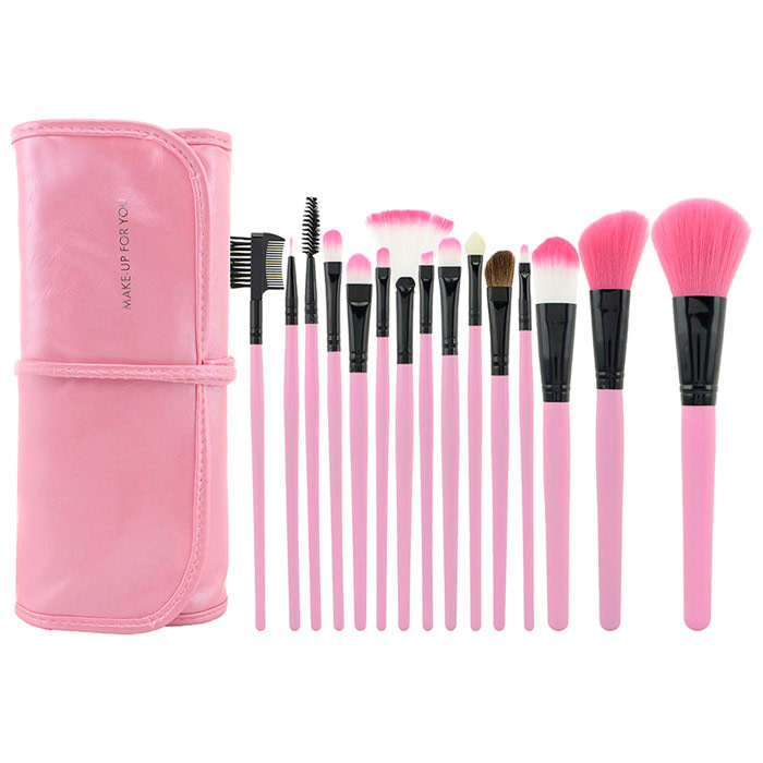 MAKE-UP FOR YOU Professional Cosmetic Makeup Brushes Set w/ Carrying Bag - Black + Pink (15 PCS)