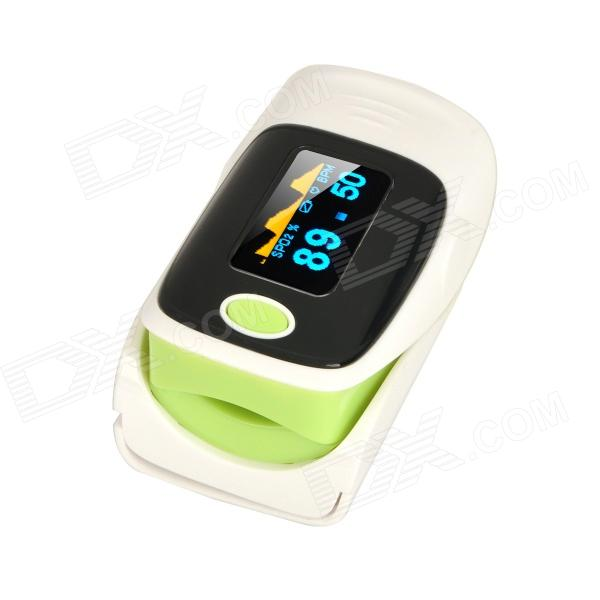 1.1 OLED SPO2 Fingertip Pulse Oximeter- Green + Black + White (2*AAA)Heart Rate Monitor<br>Form ColorWhite + Green + Multi-ColoredShade Of ColorGreenMaterial:PVCQuantity1 DX.PCM.Model.AttributeModel.UnitDisplay1.1 OLEDTarget PositionFingerBattery Number2Power SupplyAAABattery included or notNoPower AdapterBatteryPacking List- 1 x Oximeter- 1 x Strap- 1 x English user manual<br>