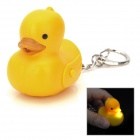 Cute Duck LED White Light Keychain w / Sound Effect - Gelb (3 x AG10)