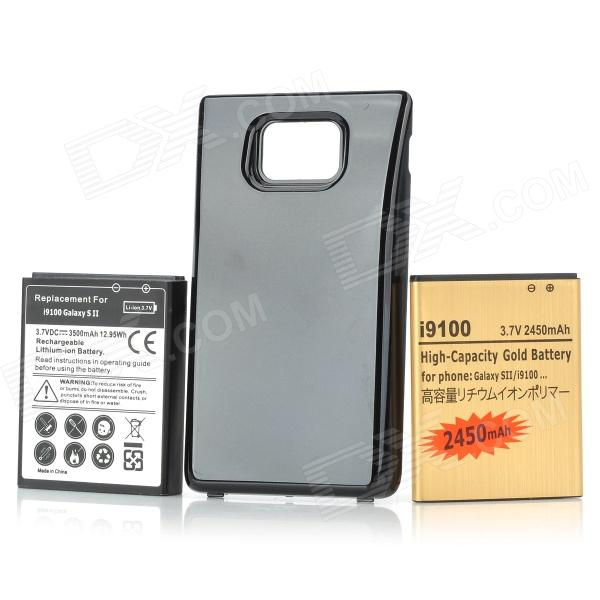 Replacement 3500mAh Battery + 2450mAh Battery + Battery Back Cover Set for Samsung Galaxy S2 - Black replacement back camera circle lens for samsung galaxy s5 g900 black