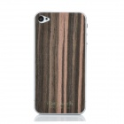 iEasypatch #ws1008 Protective Ebony A Wood Skin Sticker + Screen Protector for Iphone 4/4S - Brown