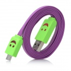LED Smile Face Pattern USB-Stecker an Micro USB Stecker Kabel für Samsung Galaxy Note N7100 II - Purple