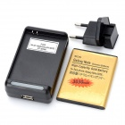 USB Battery Charger + 3030mAh Battery + AC Power Adapter Set for Samsung Galaxy Note i9220 - Black
