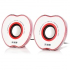 WuJiXian 3302 Apple Style Mini Portable 2-Channel Speaker - Red + White