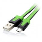 USB Male to Micro USB Male Charging Data Double-Faced Cable - Green + Black (100cm)