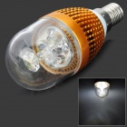 HDX-Изд-603D E14 3W 190lm 6500K 3-LED White Light Свеча Лампа - Golden (220)