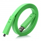 USB Male to Micro USB Male Charging Data Flat Cable - Green (100cm)