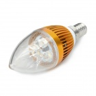 Candle Shape E14 3W 190lm 3500K 3-LED Warm White Bulb - Golden (AC 220V)