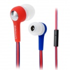 SONUN SN-A01 In-Ear Stereo Earphones w/ Microphone / Earpads - Red + Blue (3.5mm Plug / 120cm-Cable)