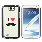 Protective Cute Mustache Pattern Matting Back Case for Samsung Galaxy Note II N7100 - White + Black