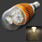 HDX-LZD-603D E14 3W 190lm 3500K 3-LED Warm White Light Candle Lamp Bulb - Golden (220V)