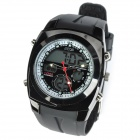 O.T.S 8108G Retro Sports Rubber Band Analog + Digital Wrist Watch for Men - Black