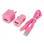3-in-1-Auto Zigarette Powered Charger + USB Daten / Ladekabel + Adapter für iPhone Set - Pink