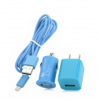 2-Flat-Pin Plug Power Adapter + Kfz-Ladegerät + USB to 8 Pin Blitz Laden & Datenkabel - Blue