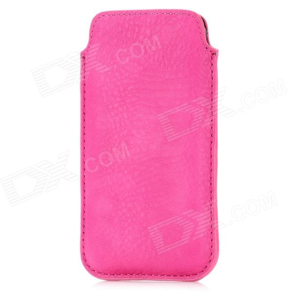 Edge Paint Protective PU Leather Case w/ Strap for Iphone 5 - Deep Pink