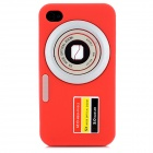 Camera 2 Pattern Protective Silicon Back Case for iPhone 4 / 4S - Red
