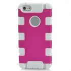 Protective Silicone Back Case for iPhone 5 - Deep Pink + White