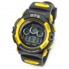 OTS 833L Sports Rubber Band LED Digital Wrist Watch for Children - Yellow + Black