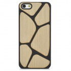 Engraved Wood Style Protective Plastic Back Case for Iphone 5 - Black + Beige