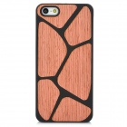 Fashion Wood Back Case for Iphone 5 - Black + Pink