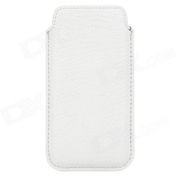 Protective PU Leather Pouch Case w/ Pull-out Strap for Iphone 5 - White protective pu leather pouch case for iphone 5 black