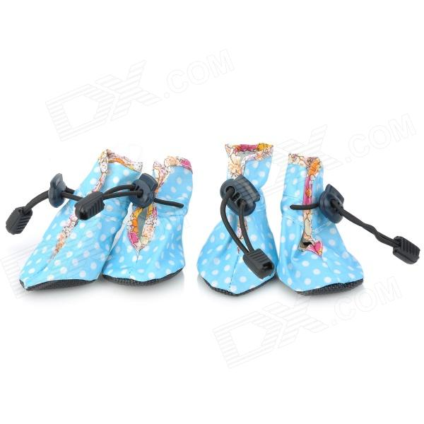 Cute Rain Proof Walking Shoes for Pets / Dogs - Light Blue (2-Pair)