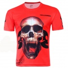 Laonongzhuang 3D Printed Skull Style Short Sleeve T-Shirt for Men - Red (Size-XXXL)