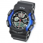 O.T.S 8003 Fashionable Sport Digital Man's Wrist Watch - Black + Blue (1 x CR2016 + 1 x SR626)