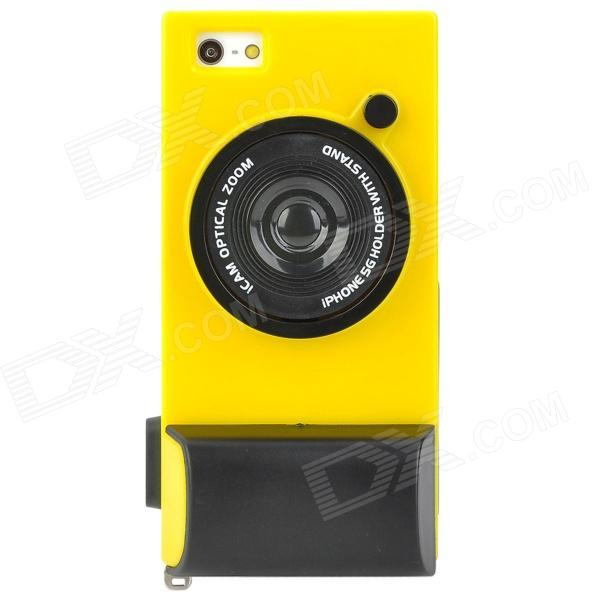 Creative Unique Camera Style Protective Case for Iphone 5 - Yellow + Black unique creative 100 us dollars bill style wallet