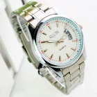 Fashion Man's Steel Alloy Quartz Analog Waterproof Wrist Watch w/ Calendar - Silver