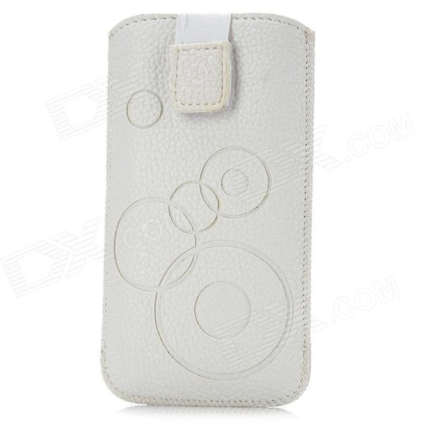 Circle Pattern Protective PU Leather Case w/ Strap for Iphone 4 / 5 / 4S - White remax protective flip open pu leather case w visual window for iphone 4 4s white
