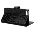 Crocodile Pattern Protective Flip-open PU Case w/ Holder + Card Slots for Iphone 5 - Black