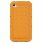 Funny Biscuit Style Protective Silicone Back Case w/ 3 Frames for Iphone 4 / Iphone 4S - Yellow