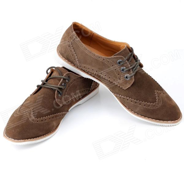 Jike Fashionable Suede Pigskin Leisure Shoes for Men - Coffee (Euro Size 42)